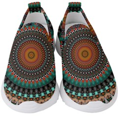 Ornament Circle Picture Colorful Kids  Slip On Sneakers by Pakrebo