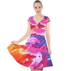 Abstract Art Background Paint Cap Sleeve Front Wrap Midi Dress by Pakrebo