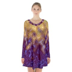 Fractal Rendering Background Long Sleeve Velvet V Neck Dress