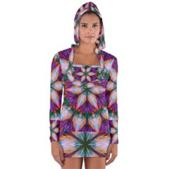 Seamless Abstract Colorful Tile Long Sleeve Hooded T Shirt