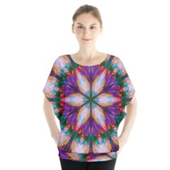 Seamless Abstract Colorful Tile Batwing Chiffon Blouse
