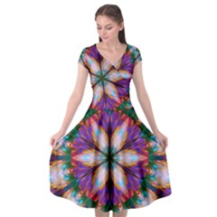 Seamless Abstract Colorful Tile Cap Sleeve Wrap Front Dress