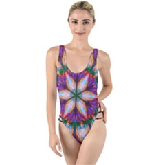 Seamless Abstract Colorful Tile High Leg Strappy Swimsuit