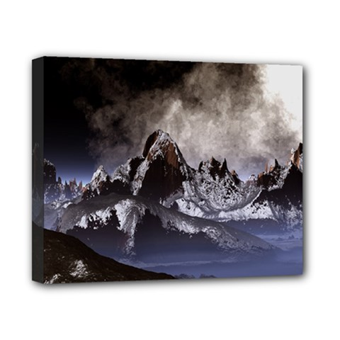 Mountains Moon Earth Space Canvas 10  X 8  (stretched)
