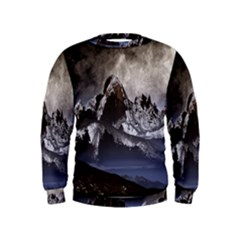 Mountains Moon Earth Space Kids  Sweatshirt