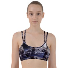 Mountains Moon Earth Space Line Them Up Sports Bra