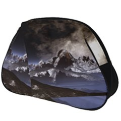 Mountains Moon Earth Space Full Print Accessory Pouch (big)