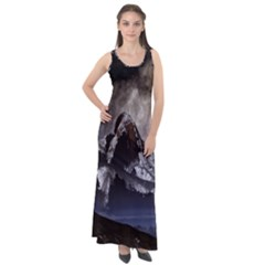 Mountains Moon Earth Space Sleeveless Velour Maxi Dress