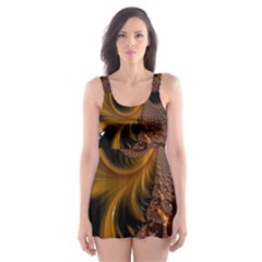 Fractal Brown Golden Intensive Skater Dress Swimsuit