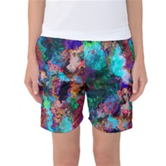 Seamless Abstract Colorful Tile Women s Basketball Shorts