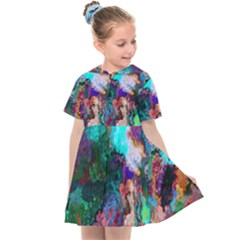 Seamless Abstract Colorful Tile Kids  Sailor Dress by Pakrebo