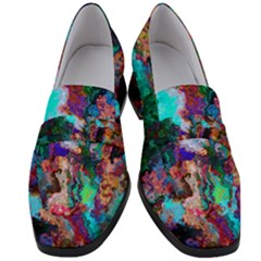 Seamless Abstract Colorful Tile Women s Chunky Heel Loafers by Pakrebo