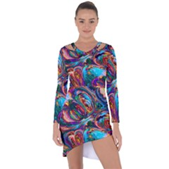 Seamless Abstract Colorful Tile Asymmetric Cut Out Shift Dress