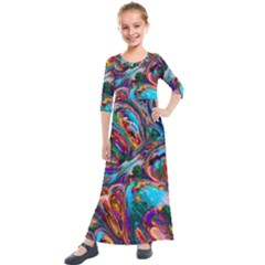 Seamless Abstract Colorful Tile Kids  Quarter Sleeve Maxi Dress