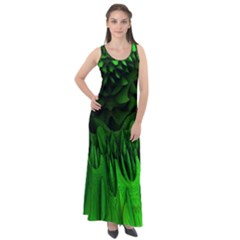 Fractal Rendering Background Green Sleeveless Velour Maxi Dress