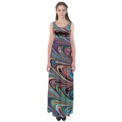 Seamless Abstract Marble Colorful Empire Waist Maxi Dress