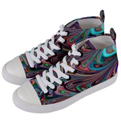 Seamless Abstract Marble Colorful Women s Mid-top Canvas Sneakers by Pakrebo