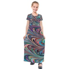Seamless Abstract Marble Colorful Kids  Short Sleeve Maxi Dress