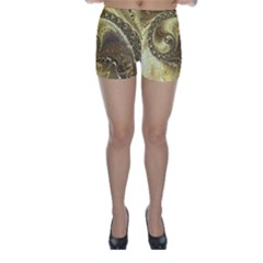 Fractal Golden Background Aesthetic Skinny Shorts