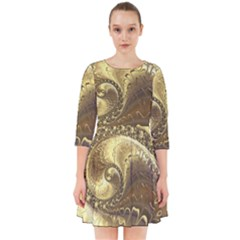 Fractal Golden Background Aesthetic Smock Dress