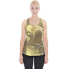 Fractal Golden Background Aesthetic Piece Up Tank Top