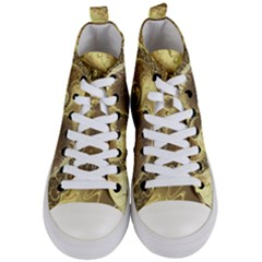 Fractal Golden Background Aesthetic Women s Mid Top Canvas Sneakers