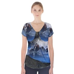 Mountains Moon Earth Space Short Sleeve Front Detail Top