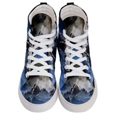 Mountains Moon Earth Space Women s Hi Top Skate Sneakers
