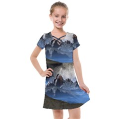 Mountains Moon Earth Space Kids  Cross Web Dress