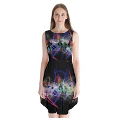 Brush Particles Music Clef Wave Sleeveless Chiffon Dress