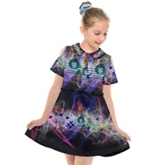 Brush Particles Music Clef Wave Kids  Short Sleeve Shirt Dress