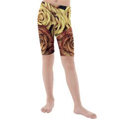 Roses Flowers Love Red Plant Kids  Mid Length Swim Shorts