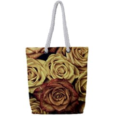 Roses Flowers Love Red Plant Full Print Rope Handle Tote (small)
