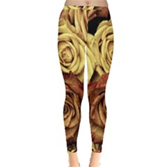 Roses Flowers Love Red Plant Inside Out Leggings