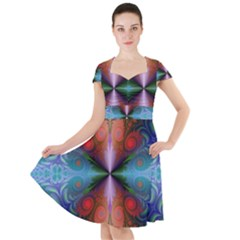 Fractal Fractal Background Design Cap Sleeve Midi Dress