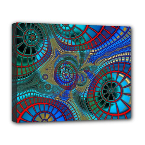 Fractal Abstract Line Wave Design Deluxe Canvas 20  X 16  (stretched)