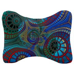 Fractal Abstract Line Wave Design Velour Seat Head Rest Cushion