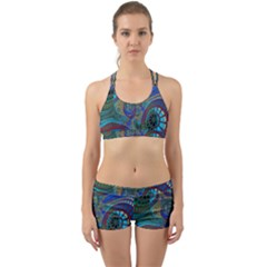 Fractal Abstract Line Wave Design Back Web Gym Set