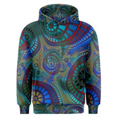Fractal Abstract Line Wave Design Men s Overhead Hoodie