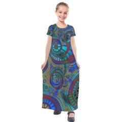 Fractal Abstract Line Wave Design Kids  Short Sleeve Maxi Dress by Pakrebo