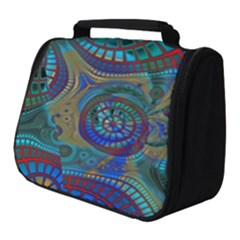 Fractal Abstract Line Wave Design Full Print Travel Pouch (small)