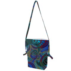 Fractal Abstract Line Wave Design Folding Shoulder Bag