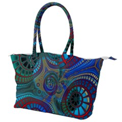 Fractal Abstract Line Wave Design Canvas Shoulder Bag