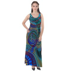 Fractal Abstract Line Wave Design Sleeveless Velour Maxi Dress