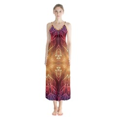 Fractal Abstract Artistic Button Up Chiffon Maxi Dress by Pakrebo