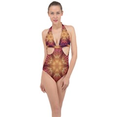 Fractal Abstract Artistic Halter Front Plunge Swimsuit