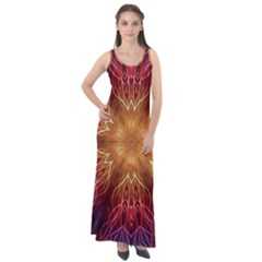 Fractal Abstract Artistic Sleeveless Velour Maxi Dress
