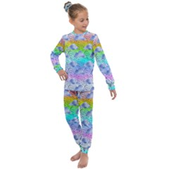 Colorful Iridescent Clouds Kids  Long Sleeve Set  by tarastyle