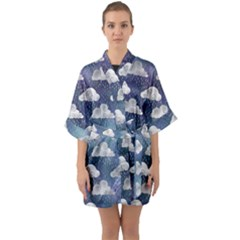 Colorful Iridescent Clouds Quarter Sleeve Kimono Robe