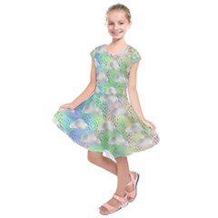 Colorful Iridescent Clouds Kids  Short Sleeve Dress by tarastyle